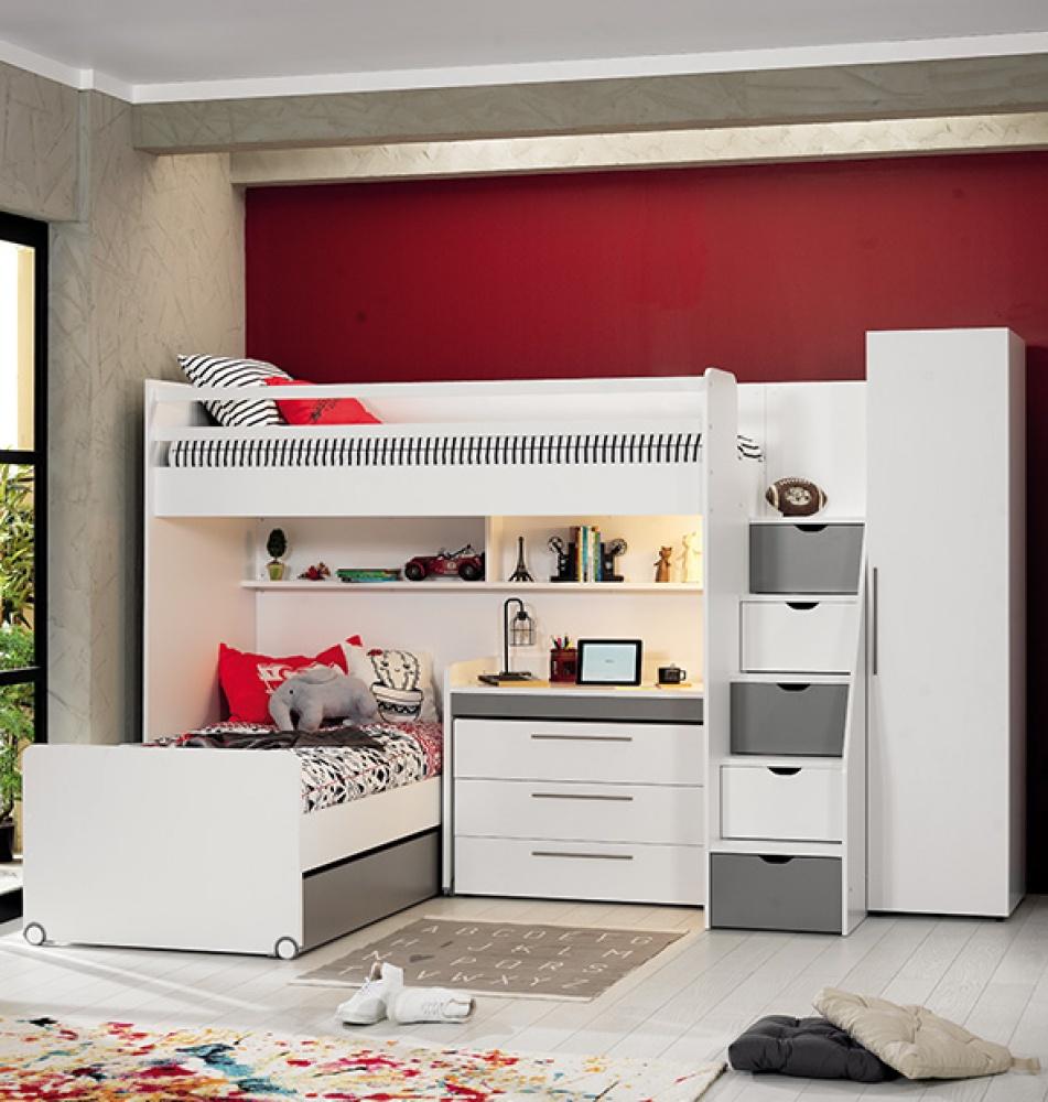 Almilas Jugendzimmer Set Neos mit Hochbett 5-teilig Weiß/Grau