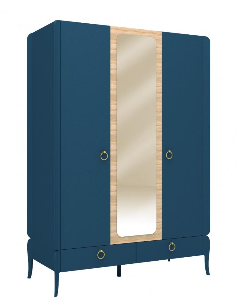 Almila Kleiderschrank Elegant Blue mit LED