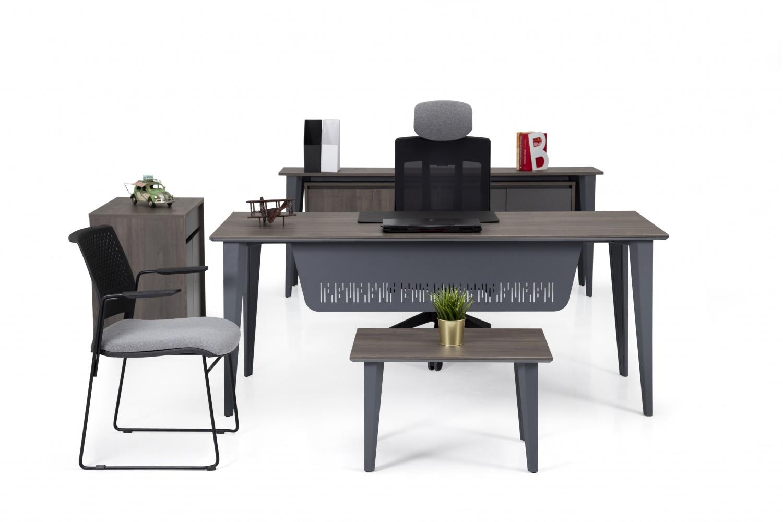Ovali Büromöbel komplett 4-teilig Elegance Grau Holzoptik