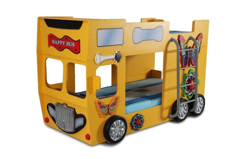 Autobett Happy Bus inkl. Matratze mit Leiter in Gelb