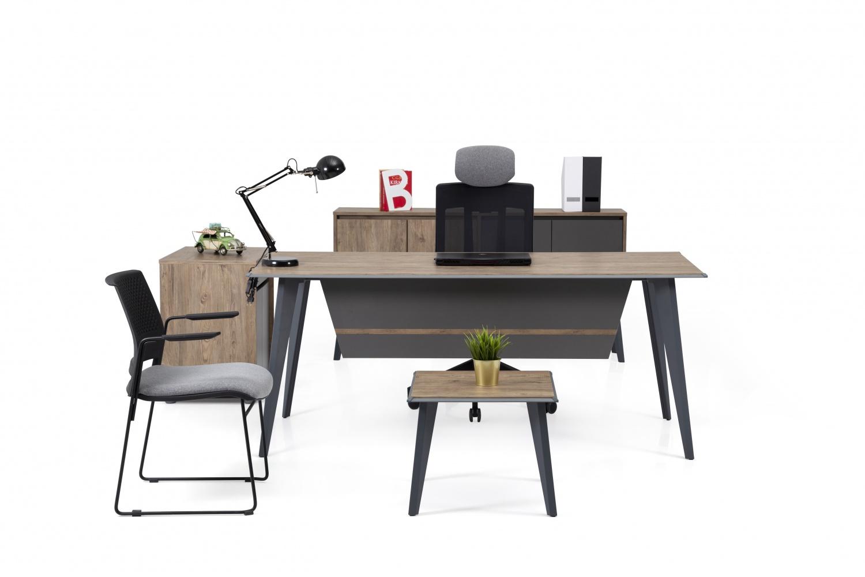 Ovali Büromöbel komplett 4-teilig Organic Grau Holzoptik