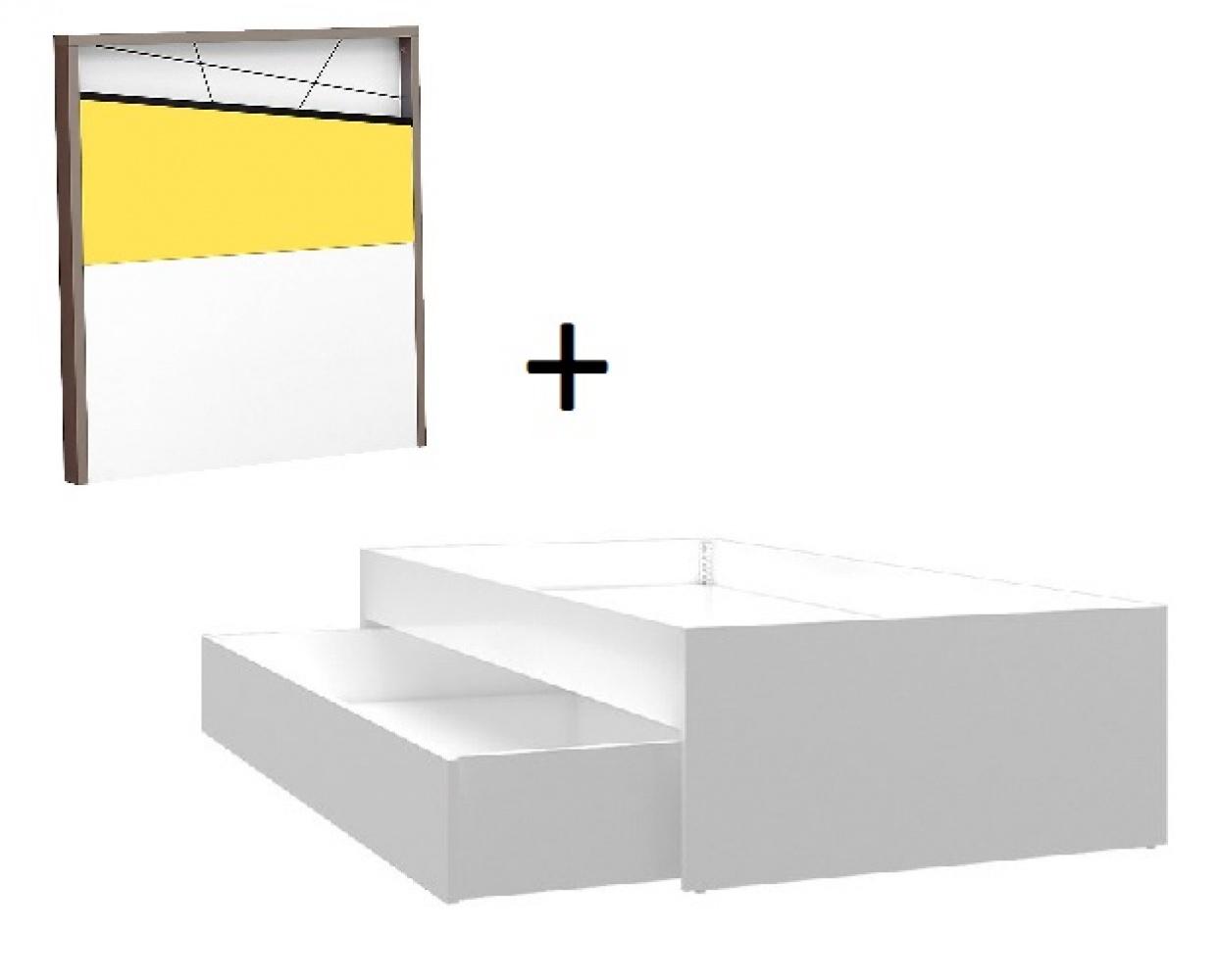 Almila Kinderbett mit Ausziehbett Angle in Weiß