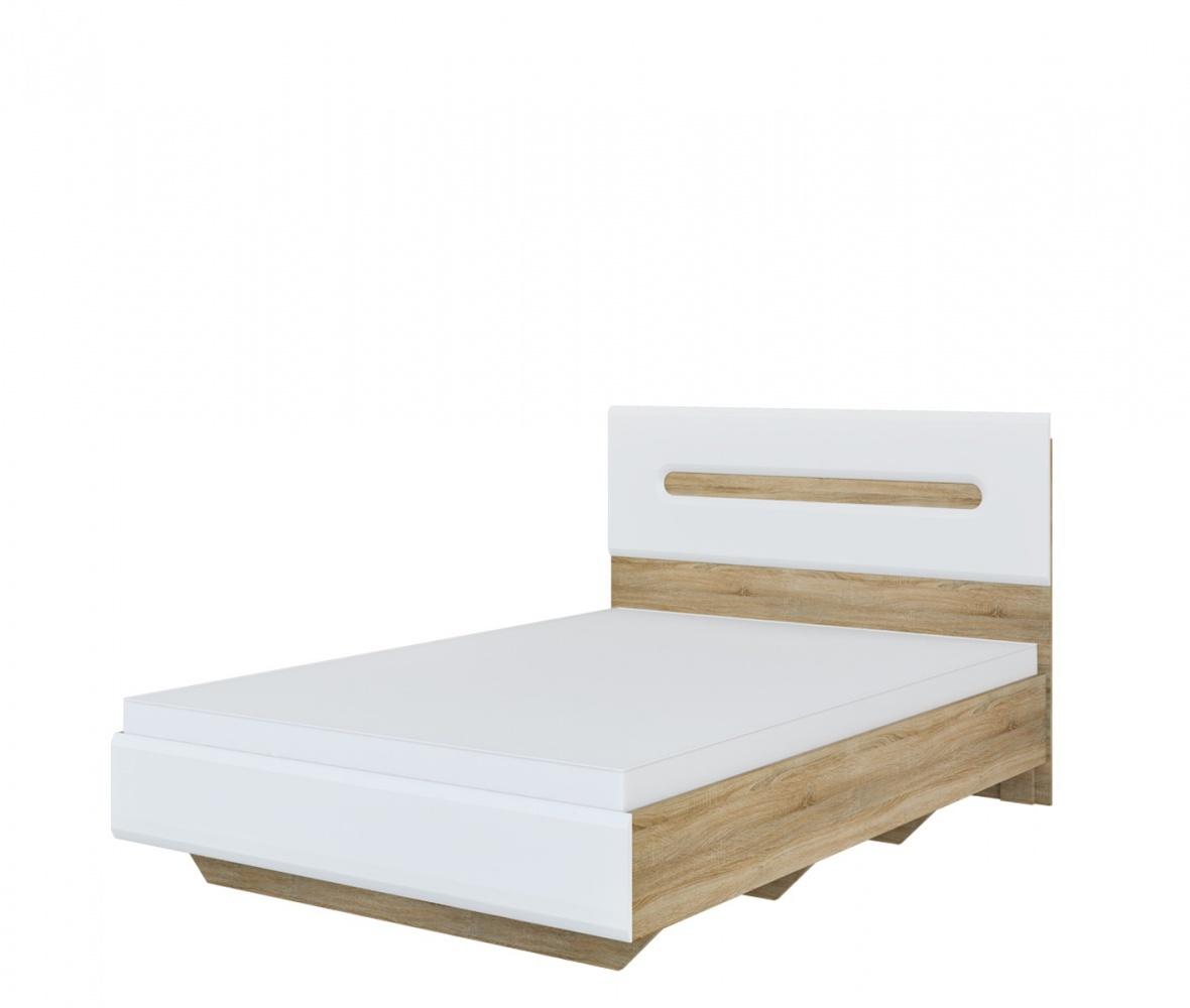 Schlafzimmer Bett 140x200 in Eiche Weiß Leonardo