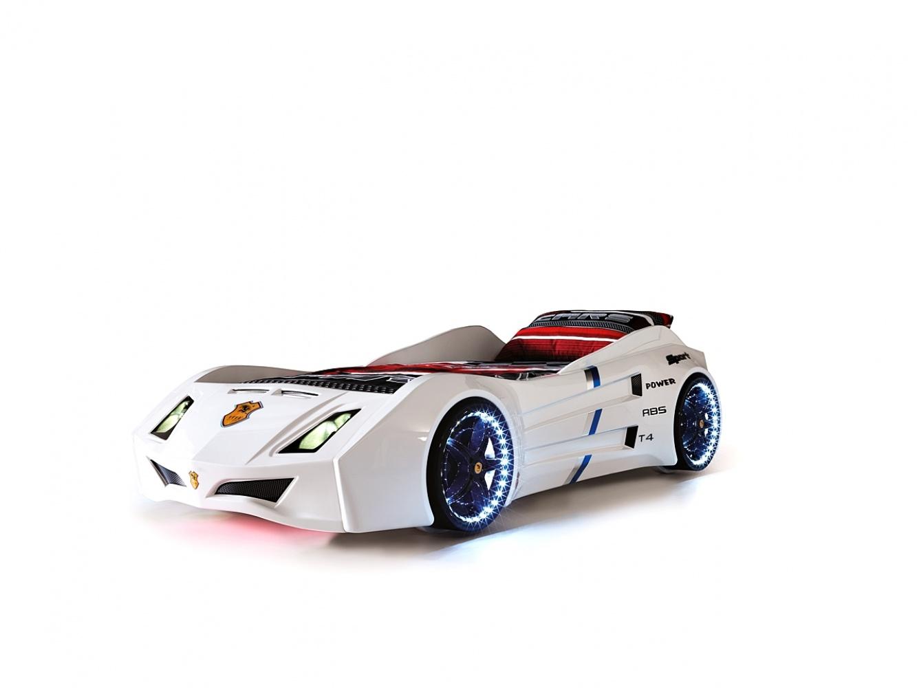 Autobett Cat Garage Car in Weiß mit Beleuchtung