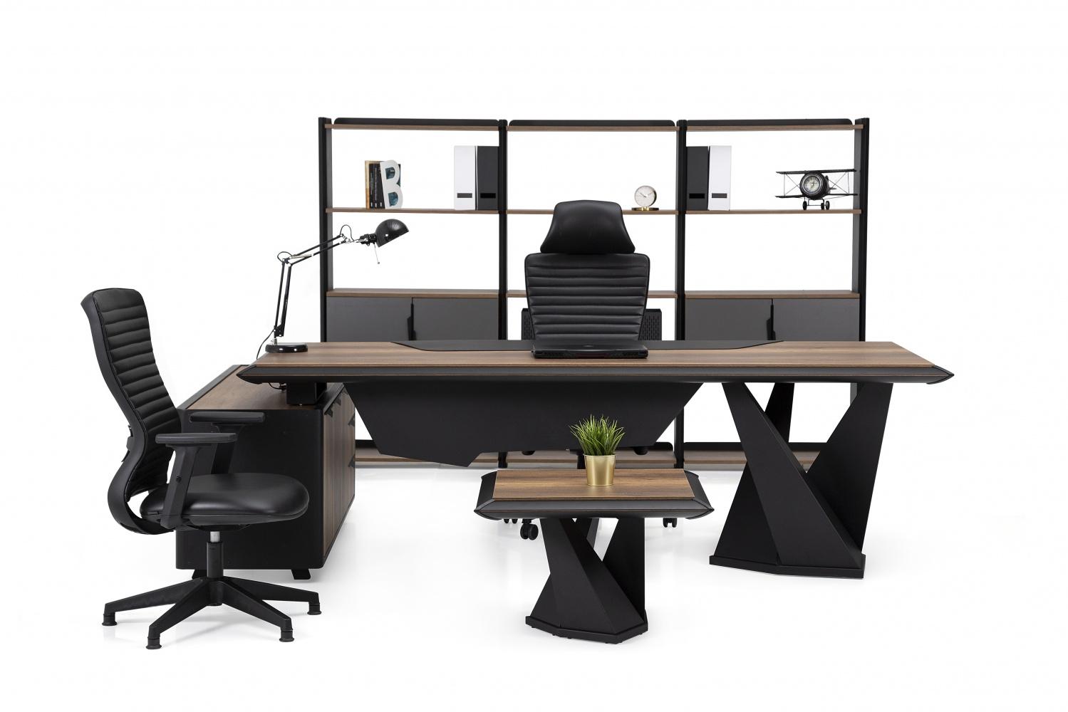Ovali Büromöbel komplett 4-teilig Line ll Schwarz