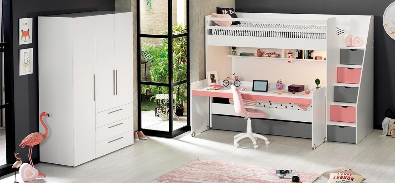 Almilas Hochbett Neos für Jugendzimmer mit LEDs Weiß/Rosa