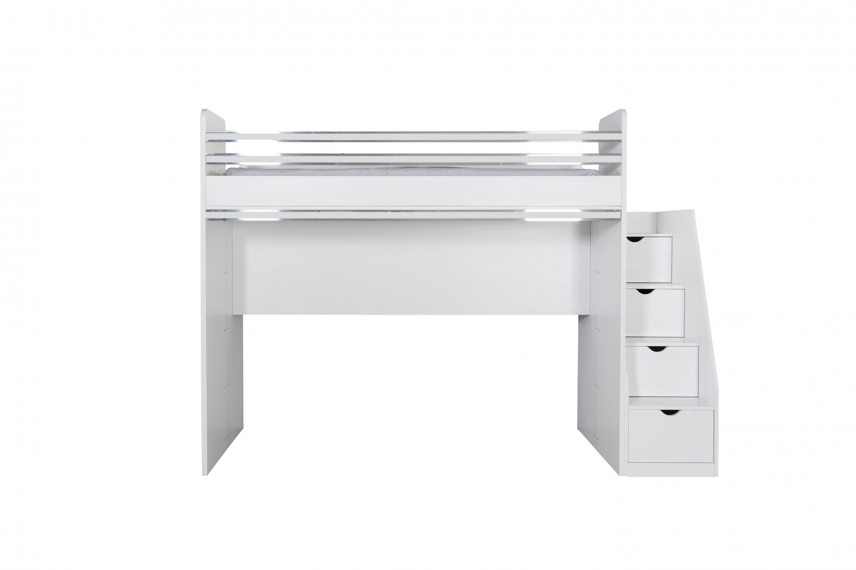 Hochbett mit Schubladentreppe in Weiß Puzzle