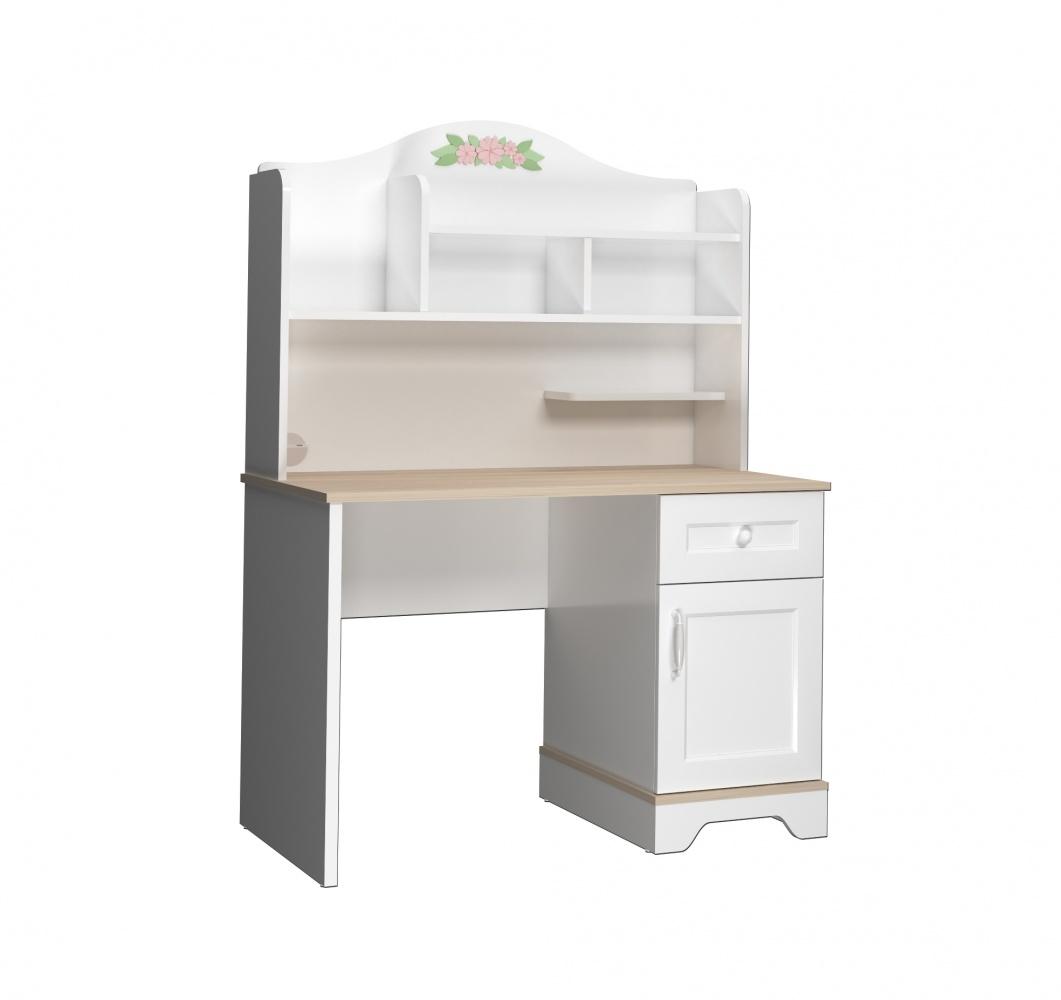 Almila Schreibtisch Bianca mit Aufsatz in Weiß mit USB