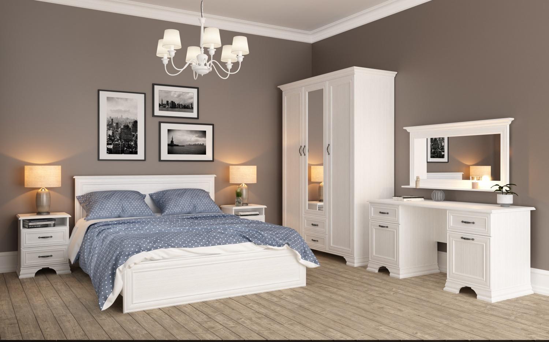 Neman Schlafzimmer-Set 5-teilig 160x200 Juna Weiß