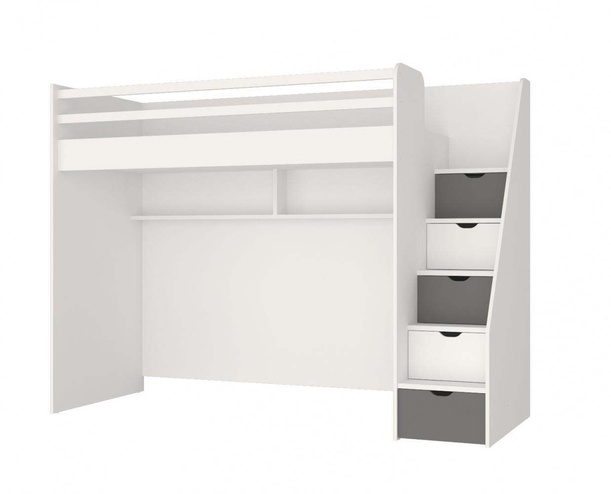 Almilas Hochbett Neos für Jugendzimmer mit LEDs Weiß/Grau