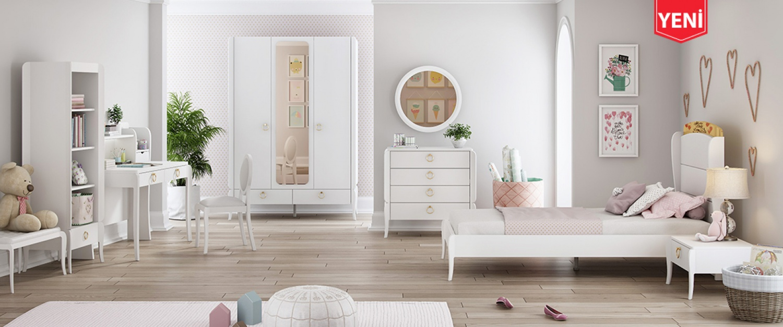 Almila Jugendzimmer komplett Set Elegant White 4-teilig