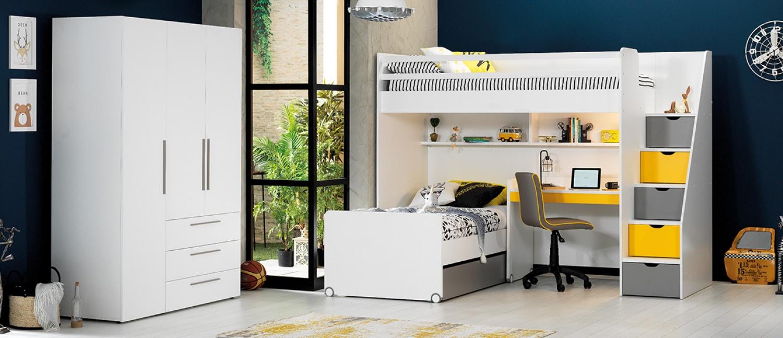 Almilas Hochbett Neos für Jugendzimmer mit LEDs  Weiß/Gelb
