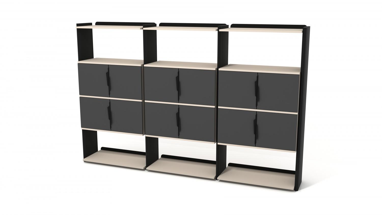 Ovali Büroregal 12-Fächer Prime Schwarz Creme