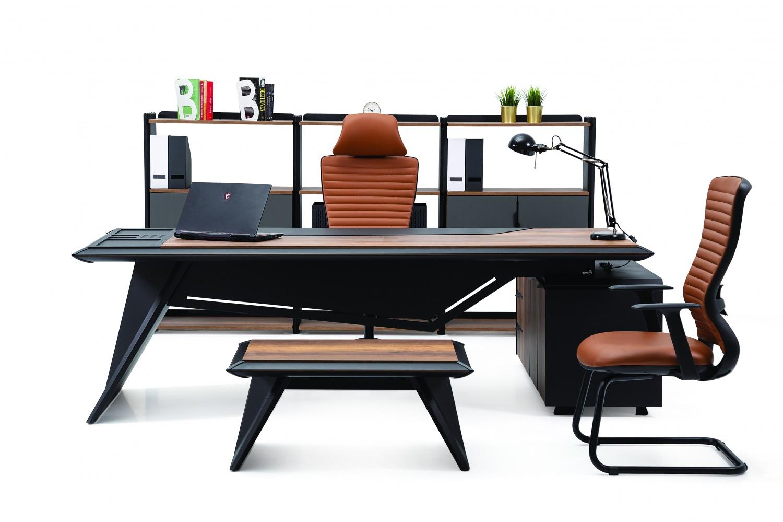 Ovali Büromöbel komplett 4-teilig Aristocrat Schwarz Holzoptik