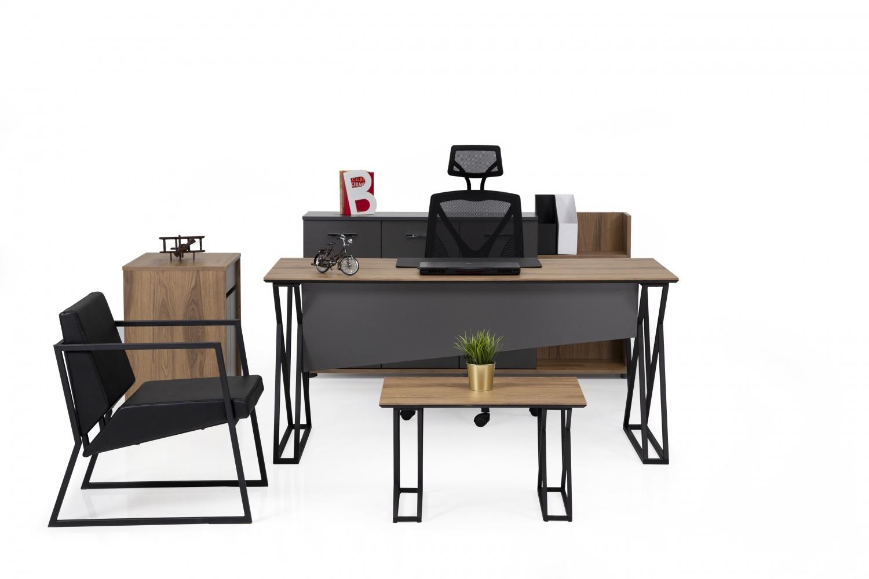 Ovali Büromöbel Set 4-teilig Taste Holzoptik Schwarz Anthrazit