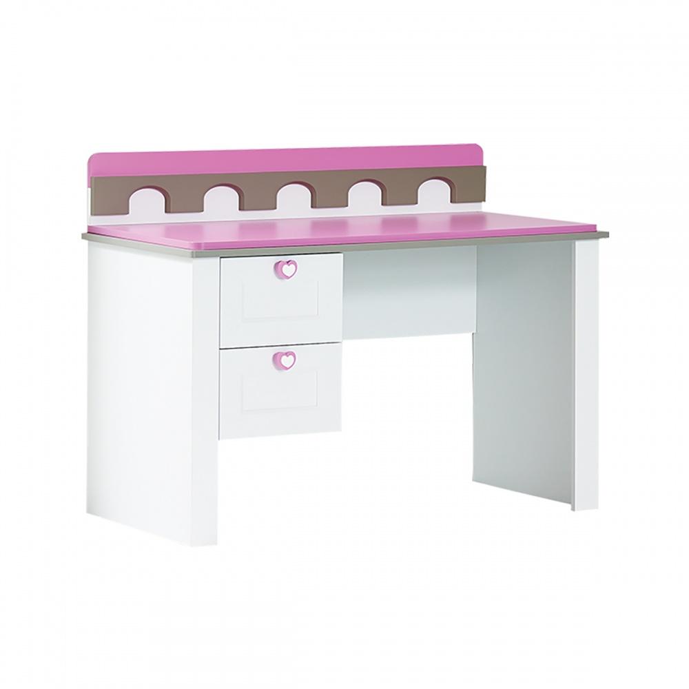Almila Kinderschreibtisch Prinzessin Arce  in Weiß Pink