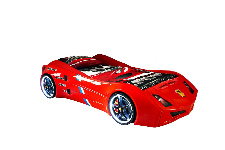 Autobett Cat Garage Car in Rot mit Beleuchtung