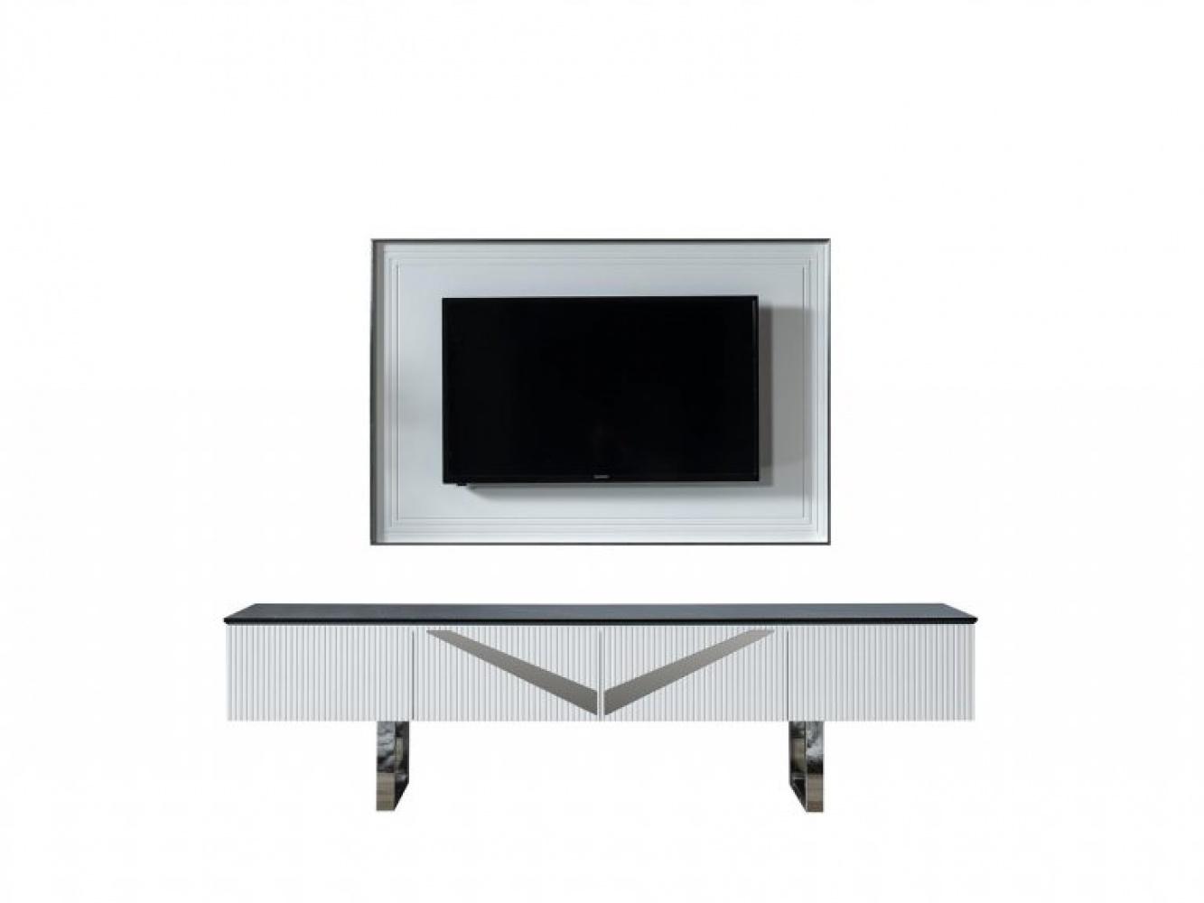 TV Lowboard mit Wandelement Veno Weiß/ Marmoroptik