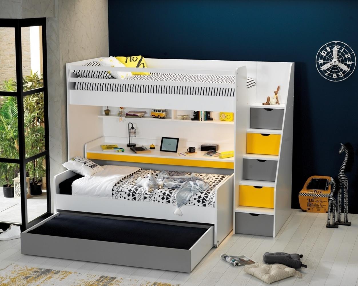 Almilas Kinderzimmer Set Neos mit drei Schlafplätzen Weiß/Gelb