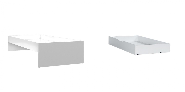 Almila Jugendbett Diamond Weiß mit Gästebett 90x190