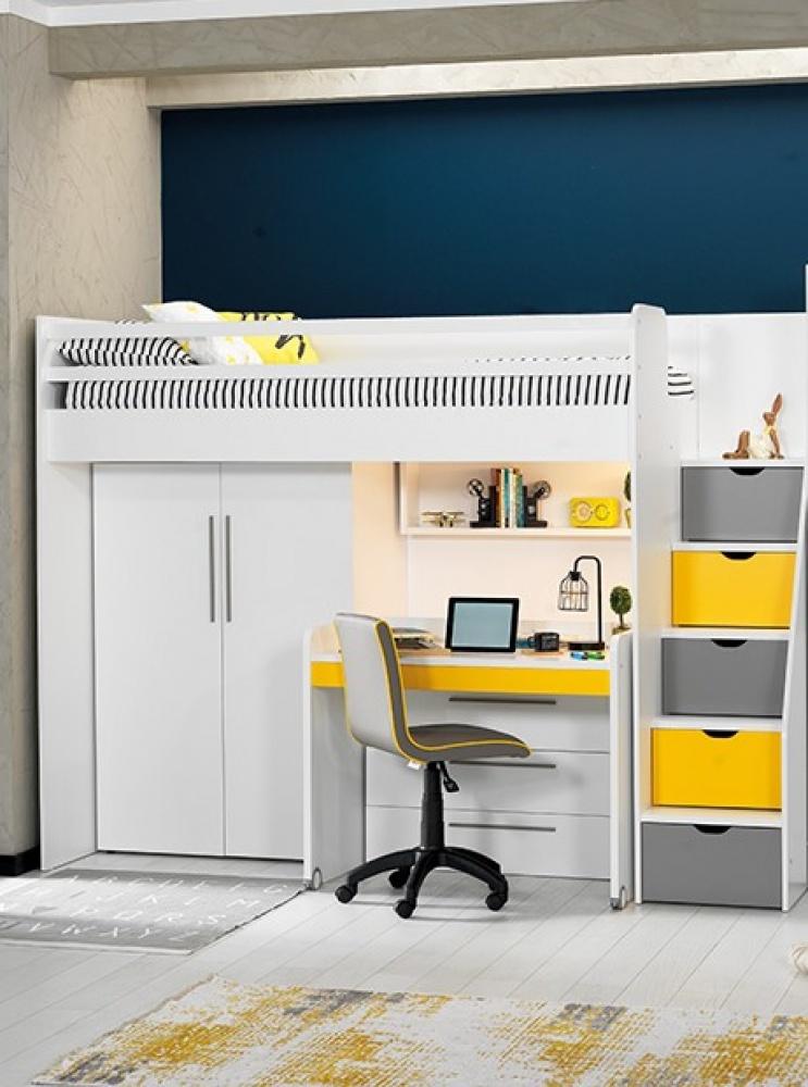 Almilas Kinderzimmer Set Neos 4-teilig mit Hochbett Weiß/Gelb