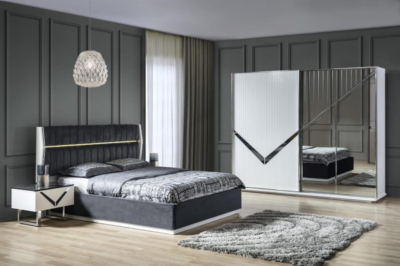 Schlafzimmer Veno Set in Grau/Weiß 4-teilig