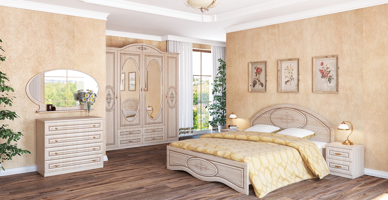 Schlafzimmer Set Eiche gebleicht Vasilica 7-teilig