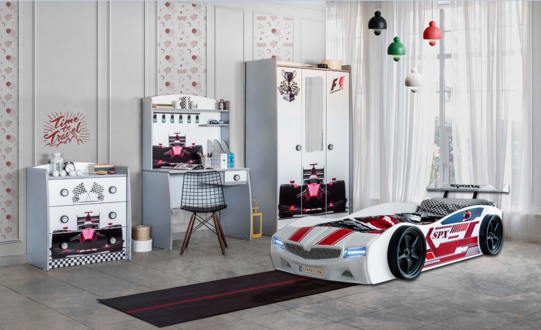 Autobett Kinderzimmer SPX Weiß 4-teilig