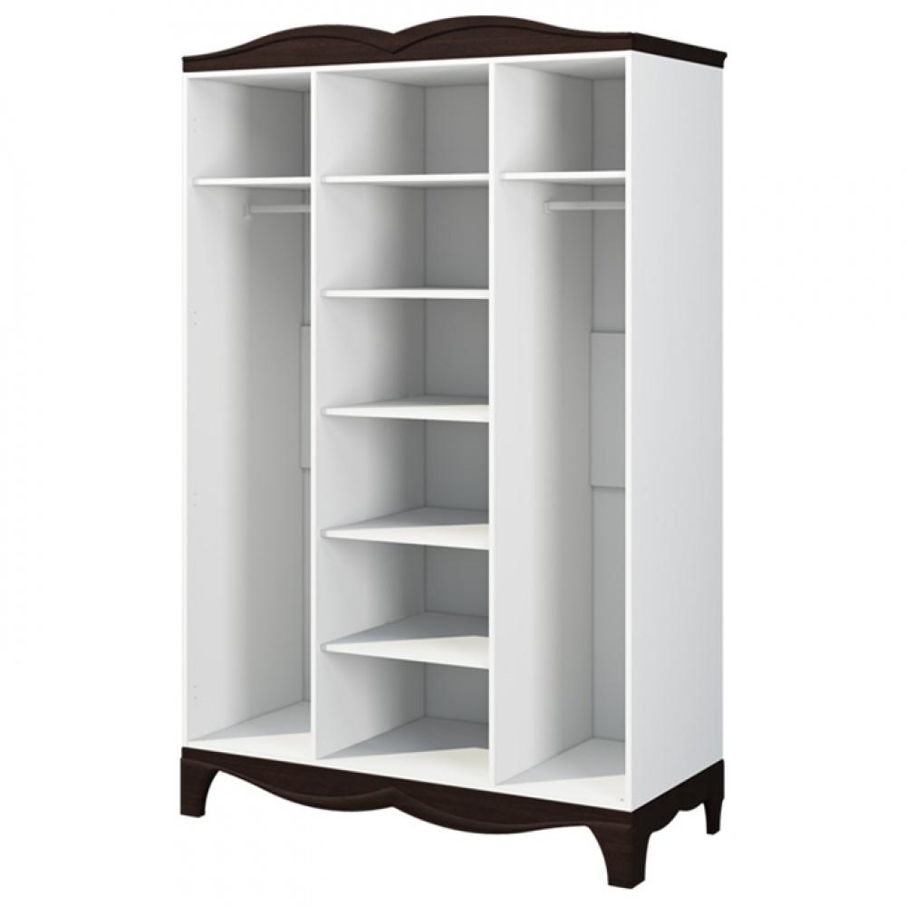 Kleiderschrank mit Spiegel Weiß Wenge Tiffany 3-türig