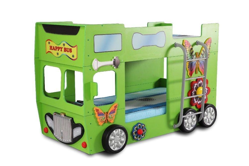 Autobett Happy Bus inkl. Matratze in Rot mit Leiter in Grün
