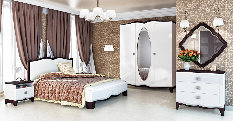 Bett mit Lattenrost Weiß Wenge Tiffany 160x200