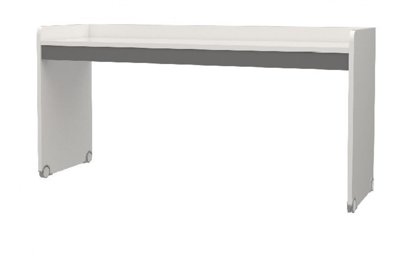 Almilas Hochbett Schreibtisch Neos in Weiß Grau Groß