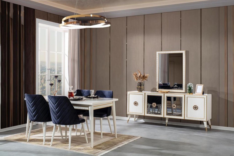 Weltew Esszimmertisch mit 4 Stühlen Nirvana Creme