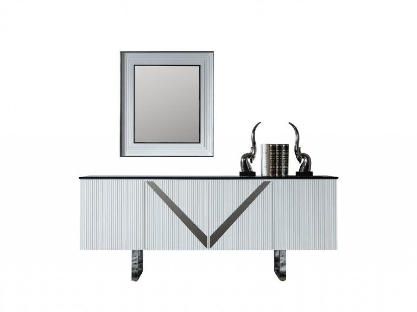 Lake Sideboard Venus mit Spiegel 4-türig in Weiß