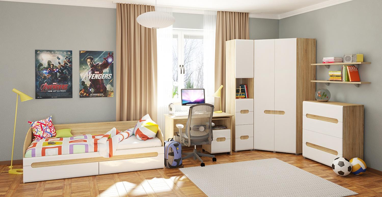 Jugendzimmer komplett Set mit Eckschrank Leonardo 6-teilig