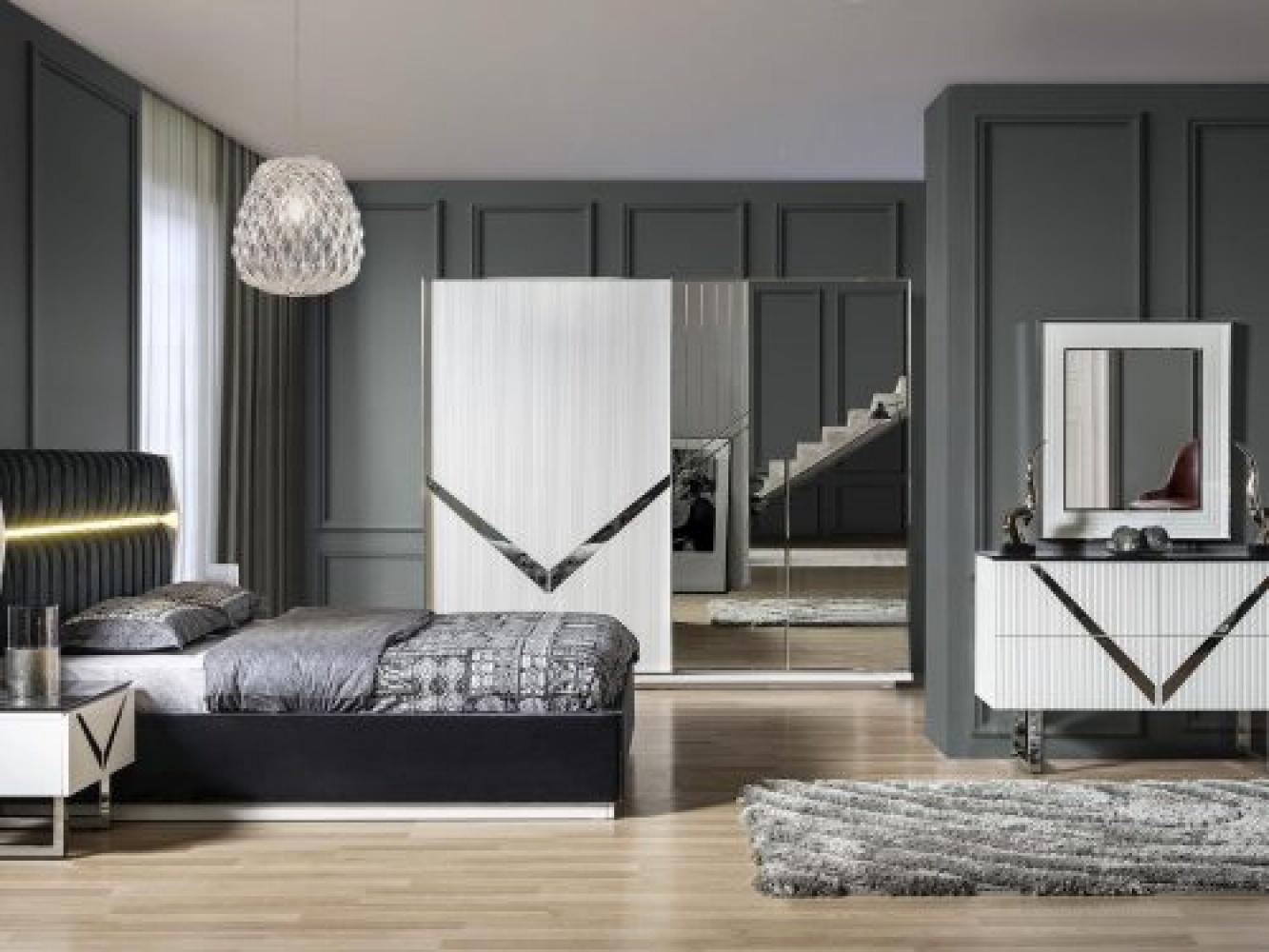 Design Kommode Veno Weiß/Marmoroptik mit Spiegel