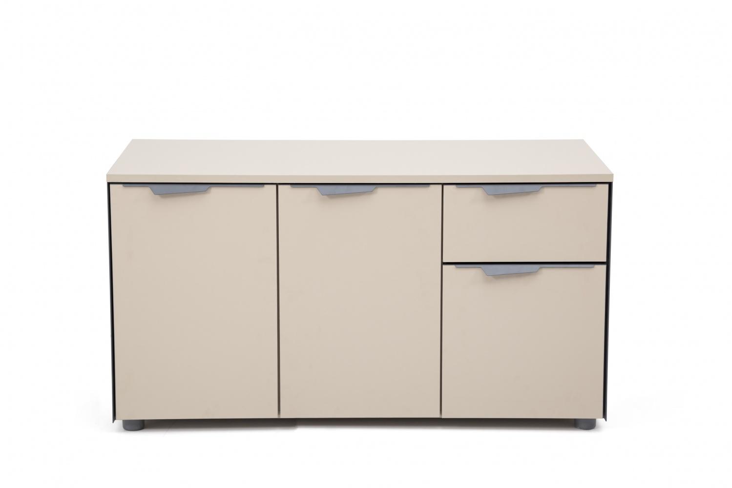 Ovali Büro Sideboard 3-türig Curve L3 Beige Grau