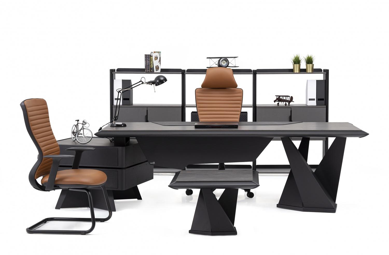 Ovali Büromöbel komplett 4-teilig Line l Schwarz