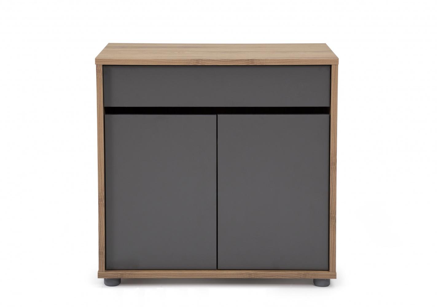Ovali Büro Kommode 2-türig Clasp Anthrazit Holzoptik