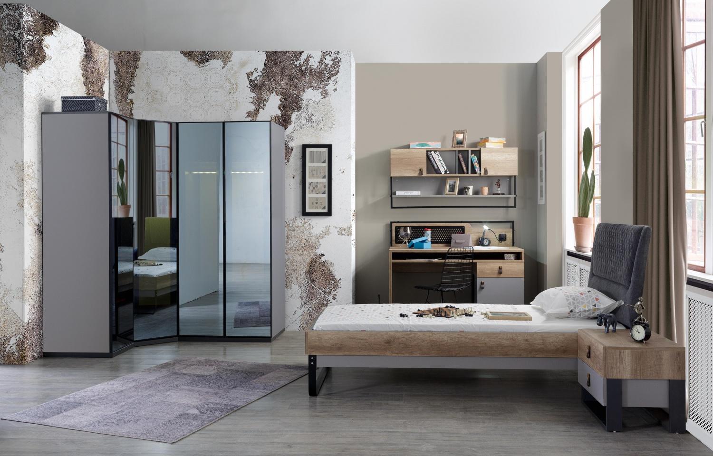 Jugendzimmer komplett Set Corner 7-teilig mit Eckkleiderschrank