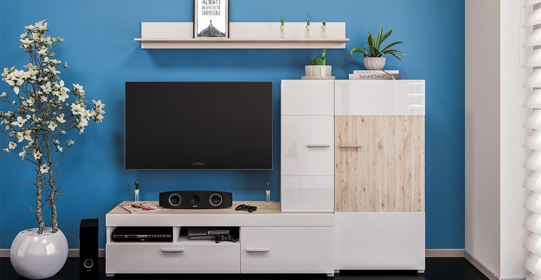 Moderne Wohnwand Weiß Eiche Seleno