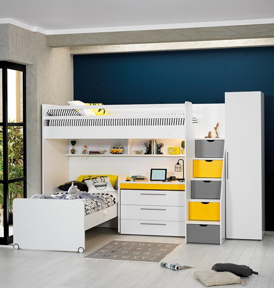 Almilas Jugendzimmer Set Neos mit Hochbett 5-teilig Gelb/Weiß
