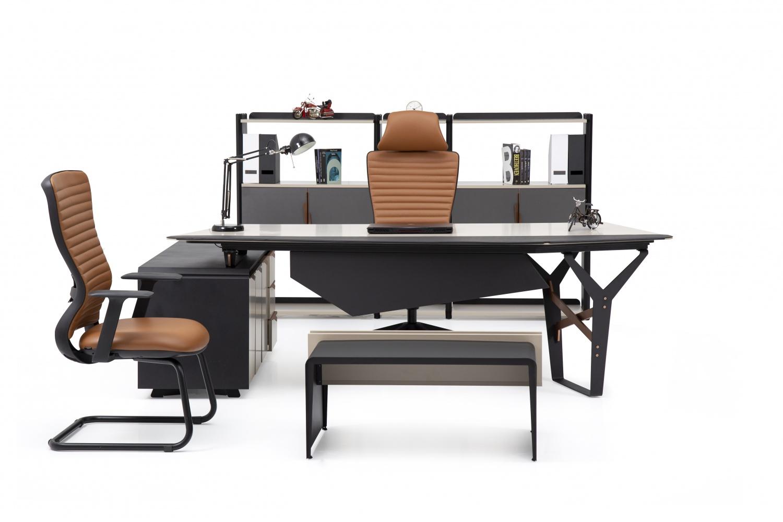 Ovali Büromöbel Set 4-teilig Horizon Schwarz Beige
