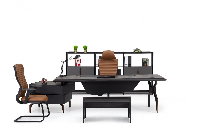 Ovali Büromöbel komplett 4-teilig Bronx Schwarz Bronze