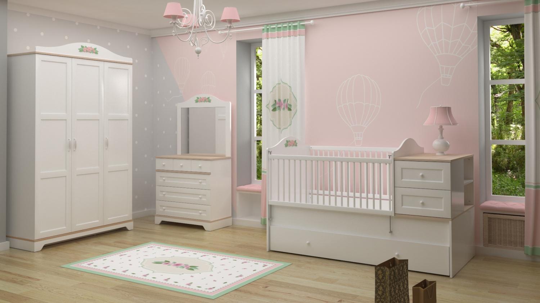 Almila Komplettes Babyzimmer Set Bianca Weiß 4-teilig