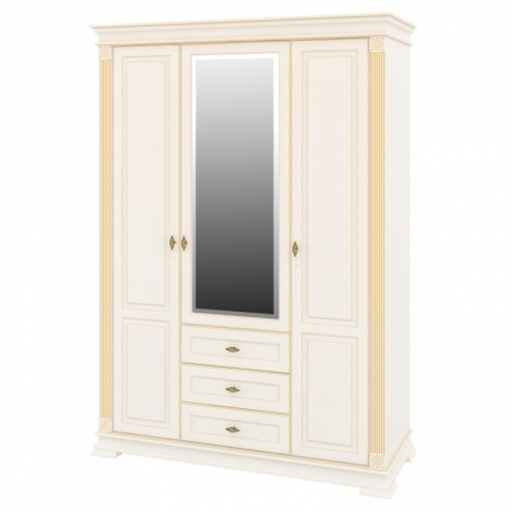 Kleiderschrank Creme mit Spiegel Athena 3-türig