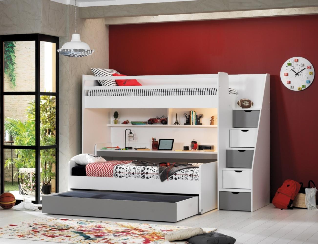 Almilas Kinderzimmer Set Neos mit drei Schlafplätzen Weiß/Grau