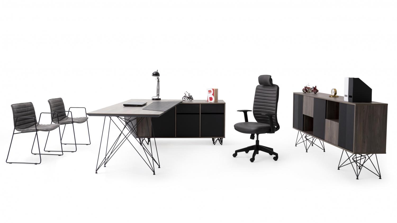 Ovali Büro Set 3-teilig Aspect Schwarz Holzoptik