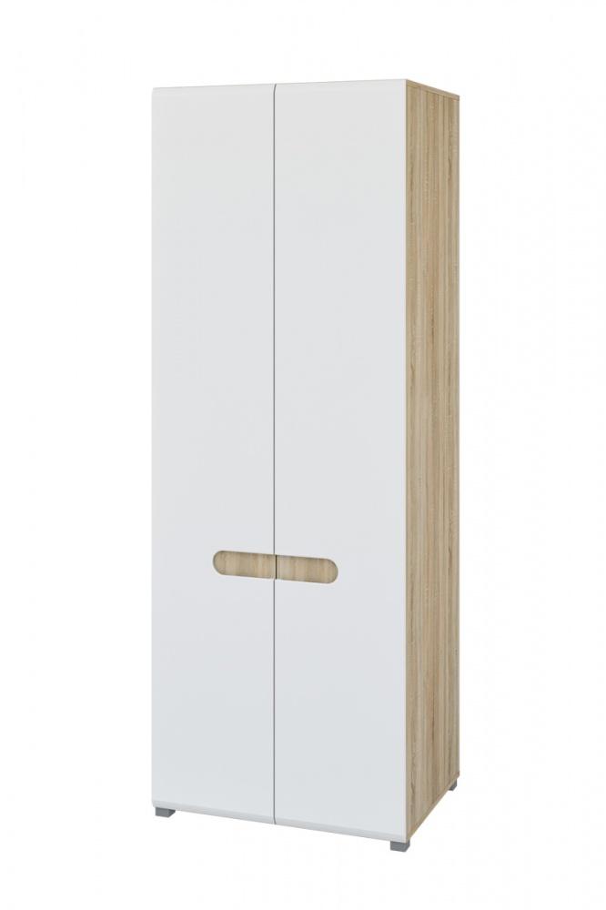 Kleiderschrank Eiche Weiß Leonardo 2-türig