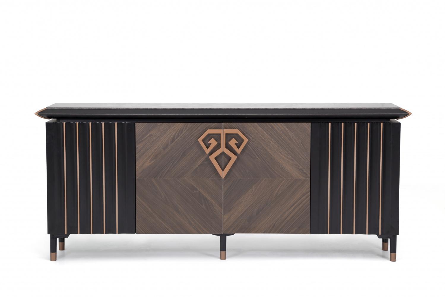 Ovali Sideboard 2-türig Jersay Schwarz Bronze